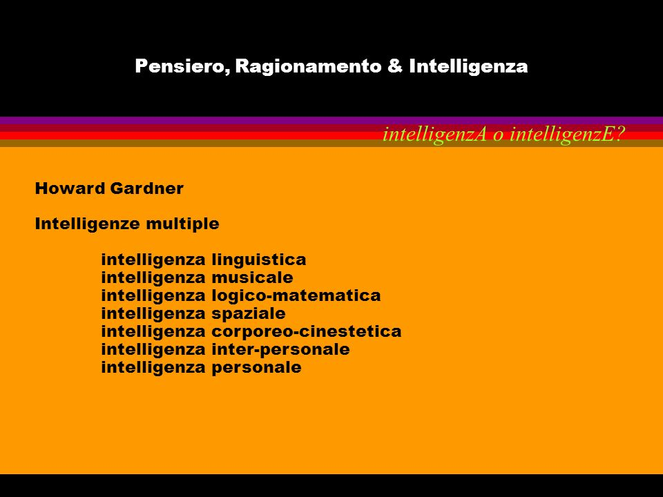 Pensiero, Ragionamento & Intelligenza Howard Gardner Intelligenze multiple intelligenza linguistica intelligenza musicale intelligenza logico-matemati