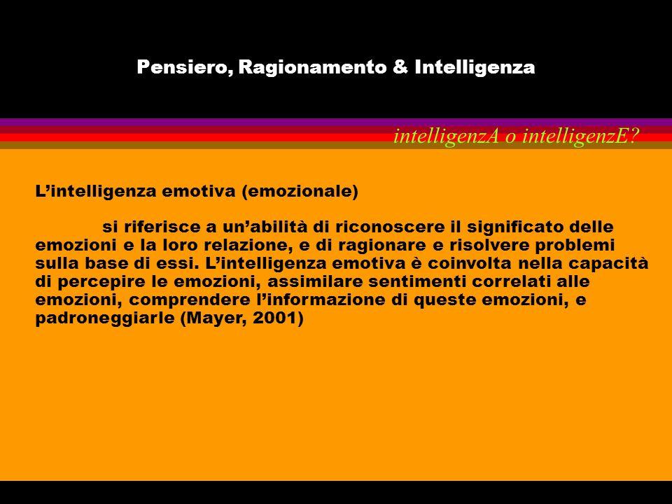 Pensiero, Ragionamento & Intelligenza Lintelligenza emotiva (emozionale) si riferisce a unabilità di riconoscere il significato delle emozioni e la lo