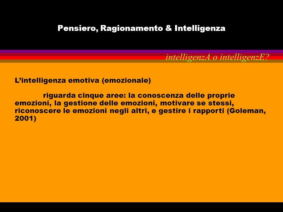 Pensiero, Ragionamento & Intelligenza Lintelligenza emotiva (emozionale) riguarda cinque aree: la conoscenza delle proprie emozioni, la gestione delle
