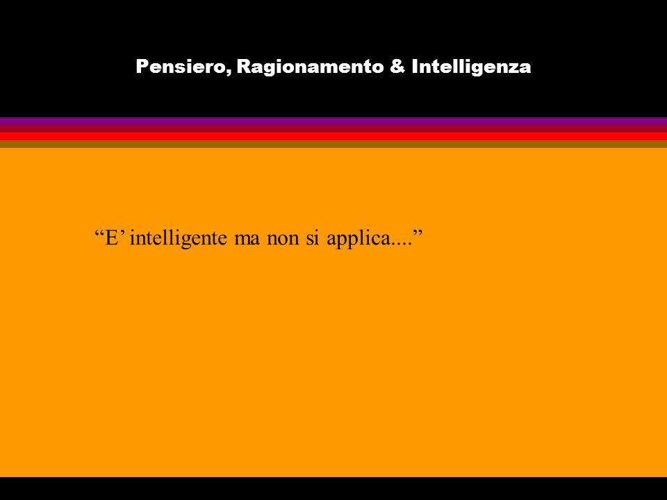 Pensiero, Ragionamento & Intelligenza E intelligente ma non si applica....