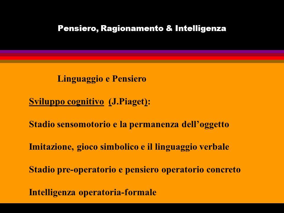 Pensiero, Ragionamento & Intelligenza Linguaggio e Pensiero Sviluppo cognitivo (J.Piaget): Stadio sensomotorio e la permanenza delloggetto Imitazione,
