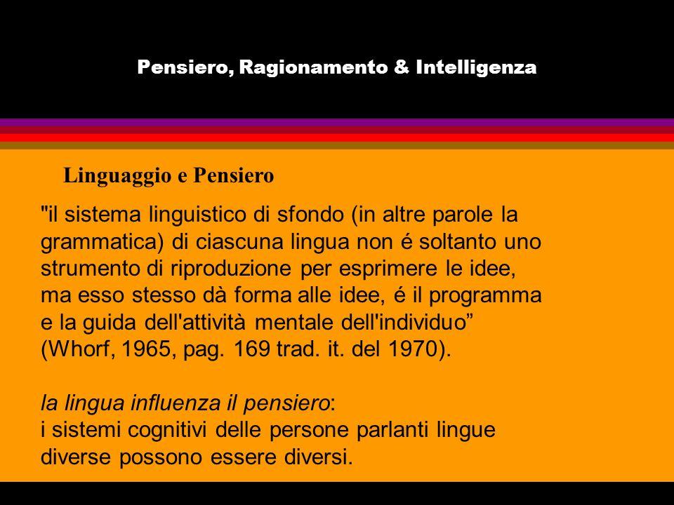 Pensiero, Ragionamento & Intelligenza Linguaggio e Pensiero