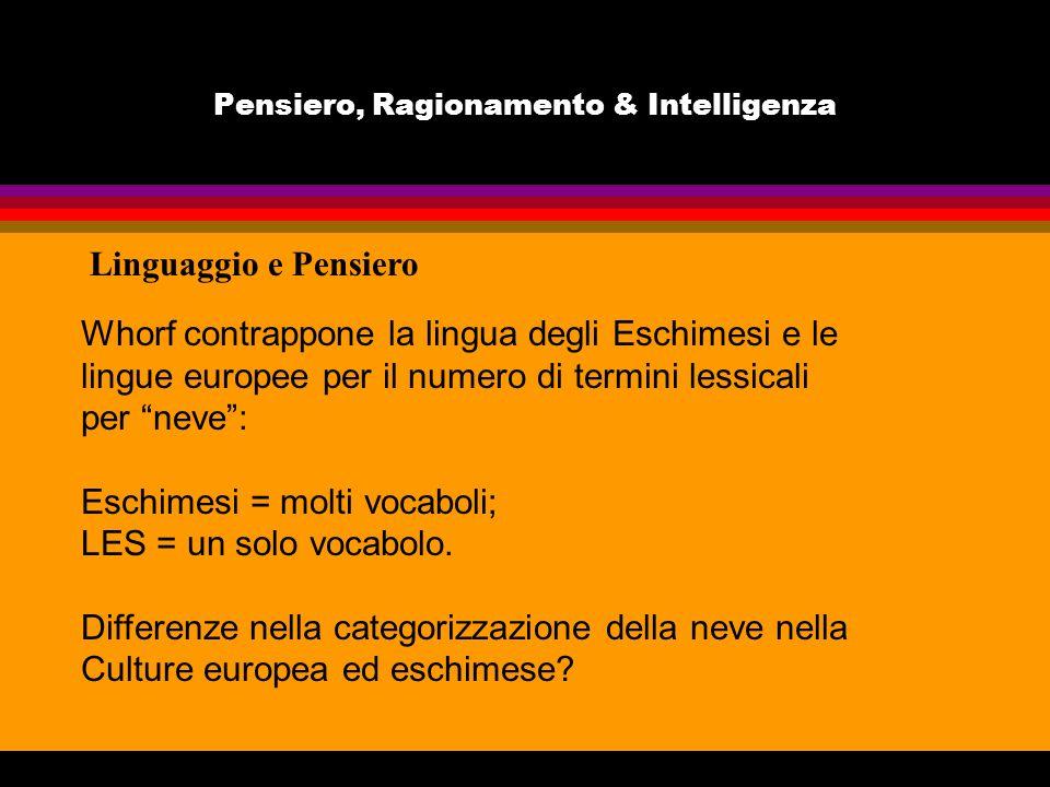 Pensiero, Ragionamento & Intelligenza Linguaggio e Pensiero Whorf contrappone la lingua degli Eschimesi e le lingue europee per il numero di termini l