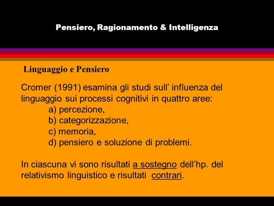 Pensiero, Ragionamento & Intelligenza Linguaggio e Pensiero Cromer (1991) esamina gli studi sull influenza del linguaggio sui processi cognitivi in qu
