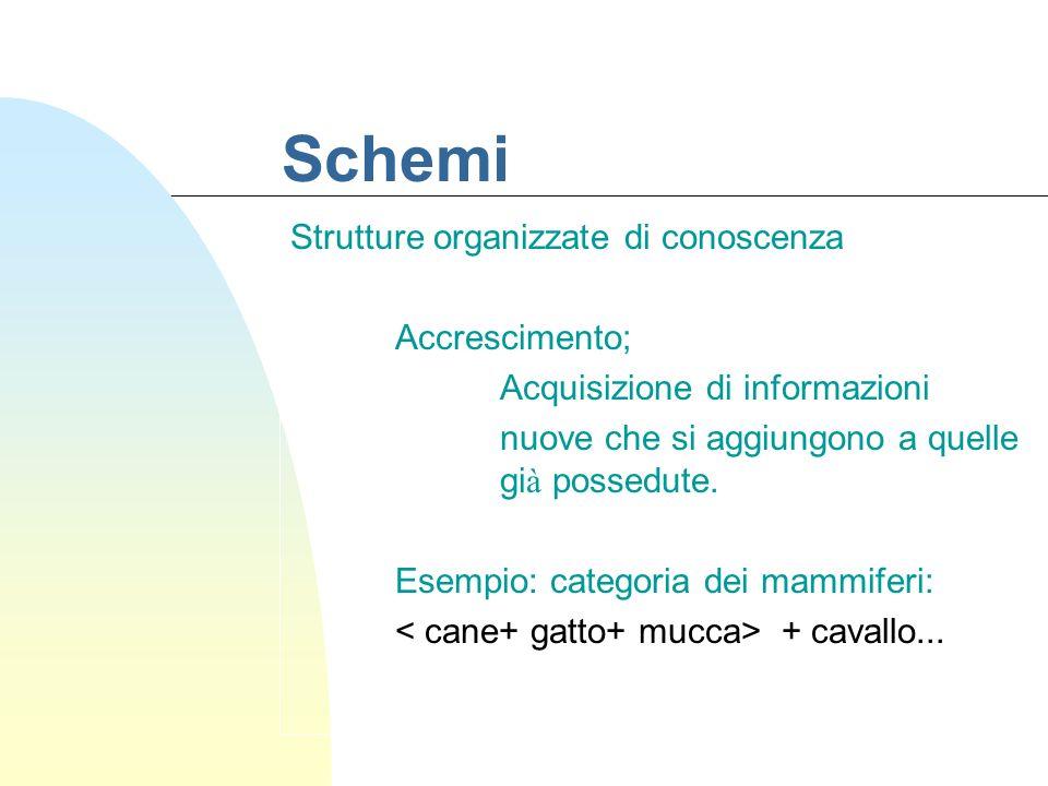 Schemi Strutture organizzate di conoscenza Sintonizzazione Acquisizione di informazioni nuove che inducono modifiche nella strutturazione delle conoscenze possedute.