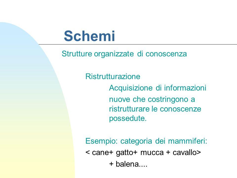 Schemi Strutture organizzate di conoscenza Ristrutturazione Acquisizione di informazioni nuove che costringono a ristrutturare le conoscenze possedute.