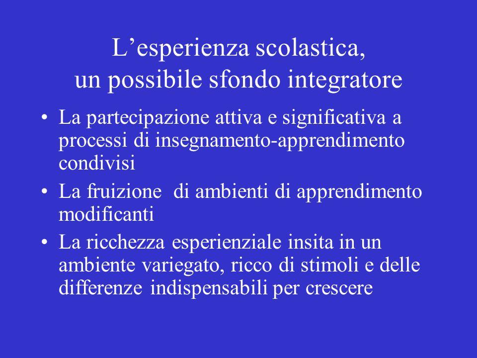 Lesperienza scolastica, un possibile sfondo integratore La partecipazione attiva e significativa a processi di insegnamento-apprendimento condivisi La