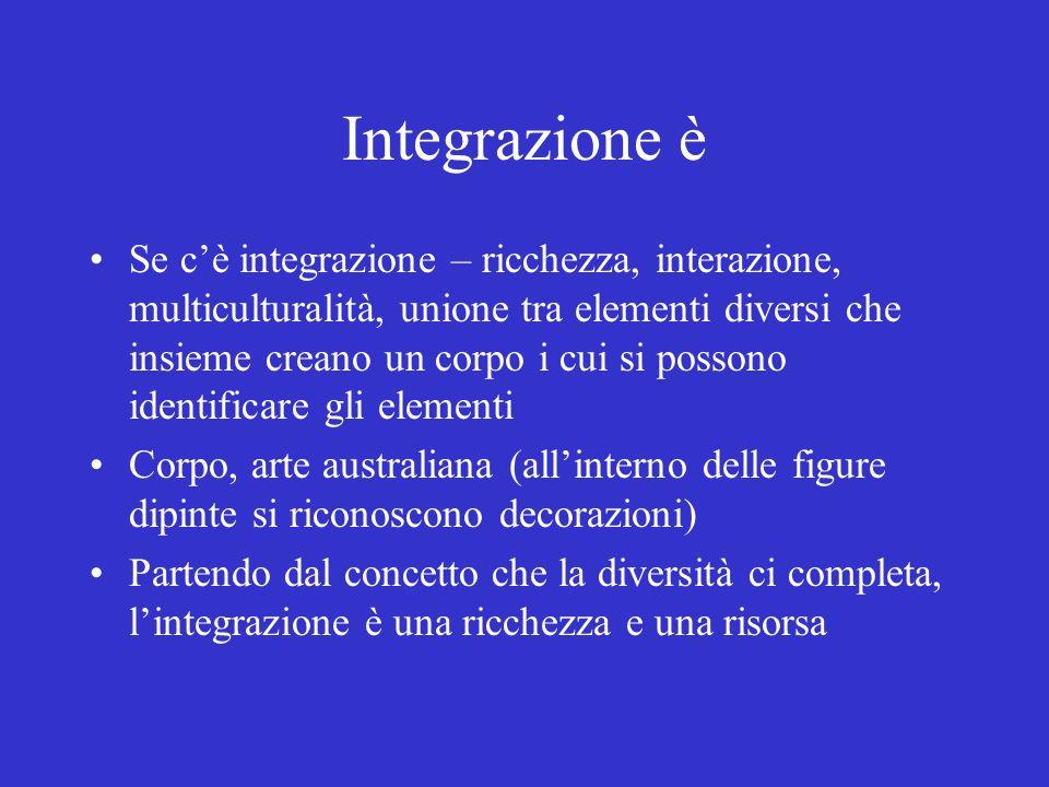 Integrazione è Se cè integrazione – ricchezza, interazione, multiculturalità, unione tra elementi diversi che insieme creano un corpo i cui si possono