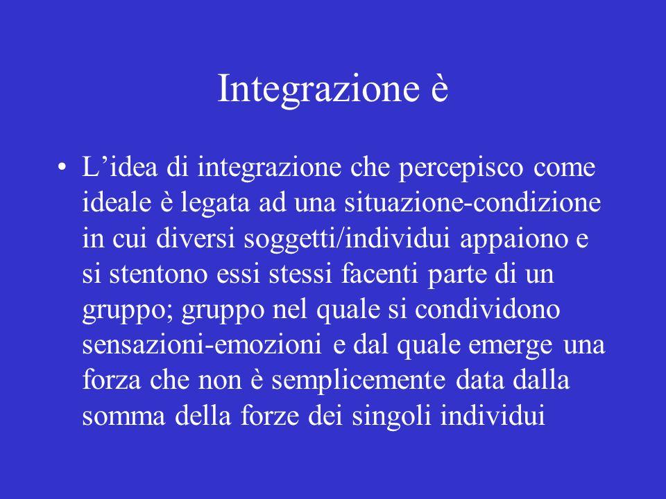 Integrazione è Lidea di integrazione che percepisco come ideale è legata ad una situazione-condizione in cui diversi soggetti/individui appaiono e si
