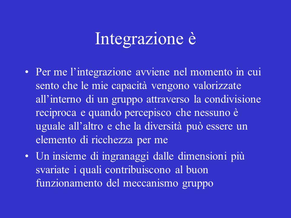 Integrazione è Per me lintegrazione avviene nel momento in cui sento che le mie capacità vengono valorizzate allinterno di un gruppo attraverso la con