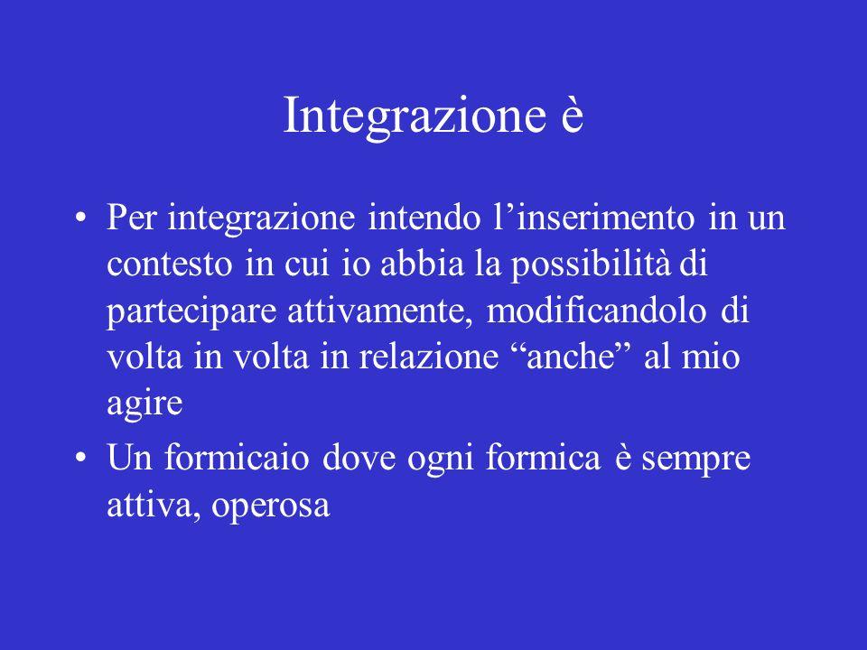 Integrazione è Per integrazione intendo linserimento in un contesto in cui io abbia la possibilità di partecipare attivamente, modificandolo di volta