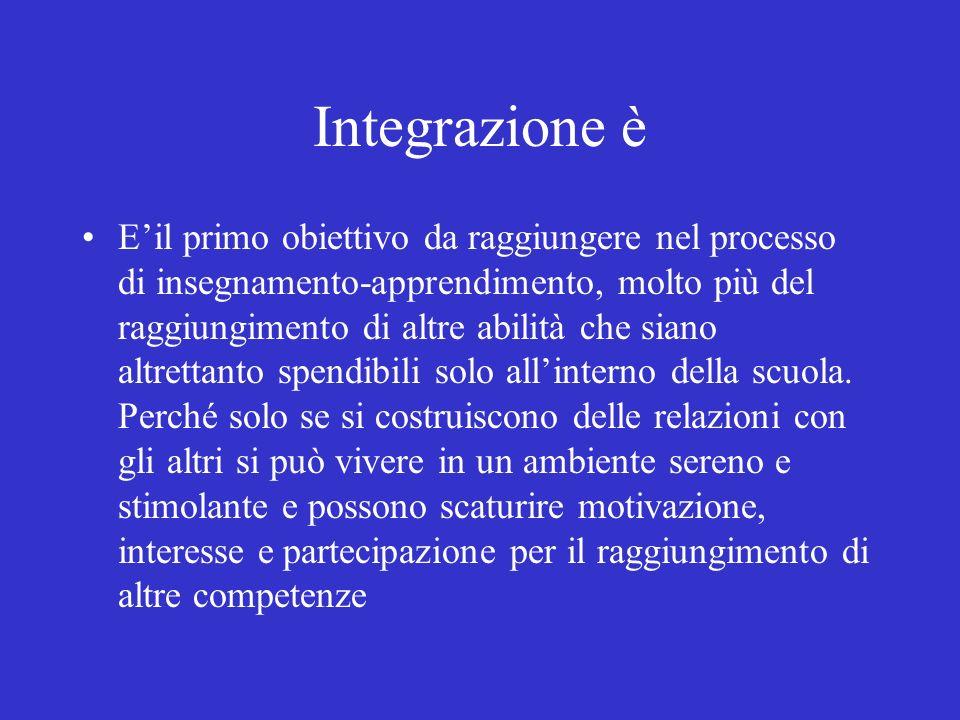 Integrazione è Eil primo obiettivo da raggiungere nel processo di insegnamento-apprendimento, molto più del raggiungimento di altre abilità che siano