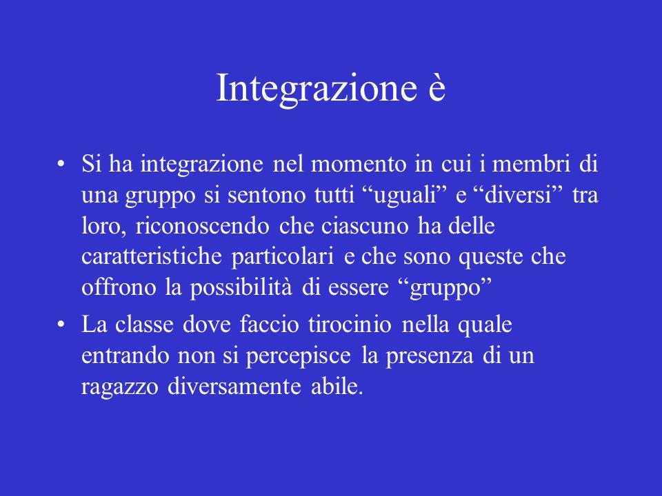 Integrazione è Si ha integrazione nel momento in cui i membri di una gruppo si sentono tutti uguali e diversi tra loro, riconoscendo che ciascuno ha d
