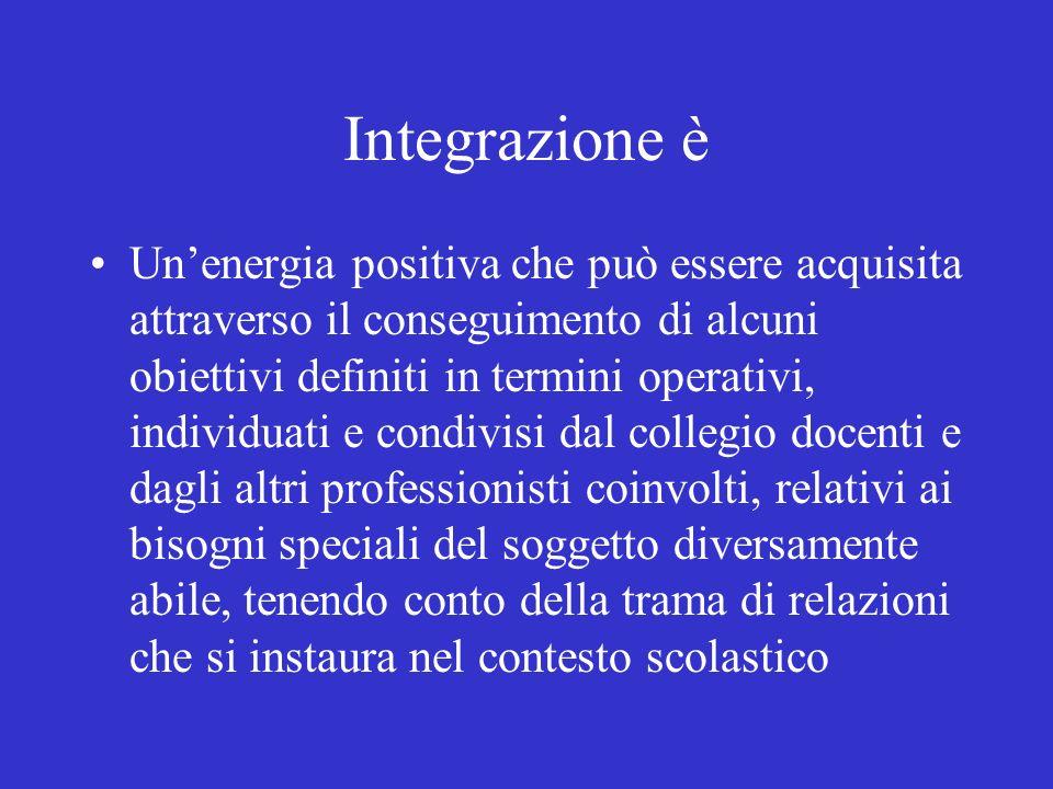 Integrazione è Unenergia positiva che può essere acquisita attraverso il conseguimento di alcuni obiettivi definiti in termini operativi, individuati