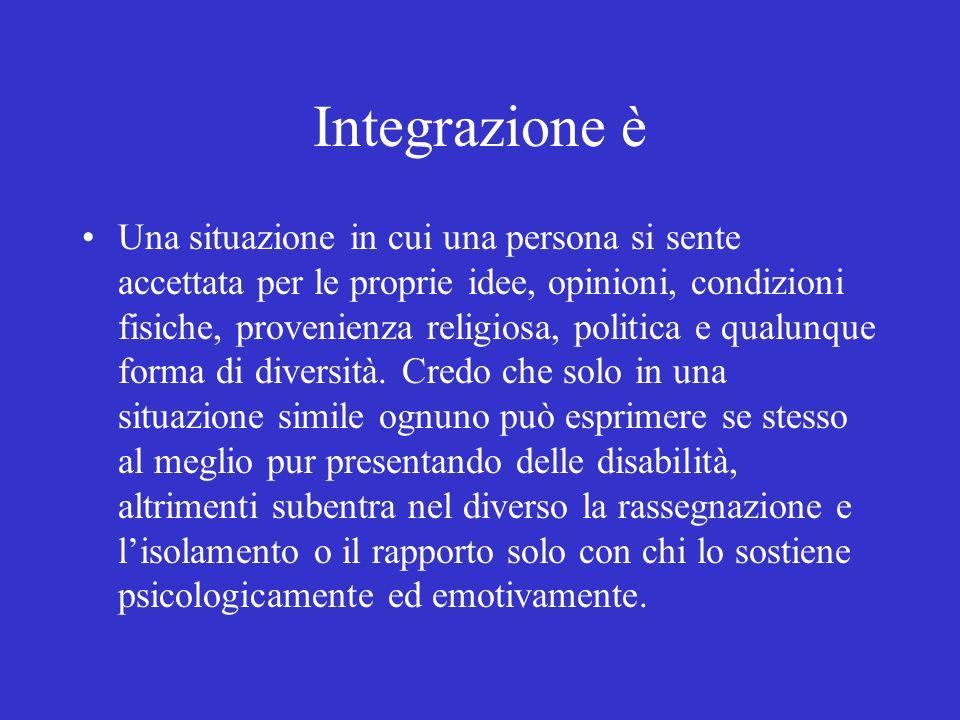 Integrazione è Una situazione in cui una persona si sente accettata per le proprie idee, opinioni, condizioni fisiche, provenienza religiosa, politica