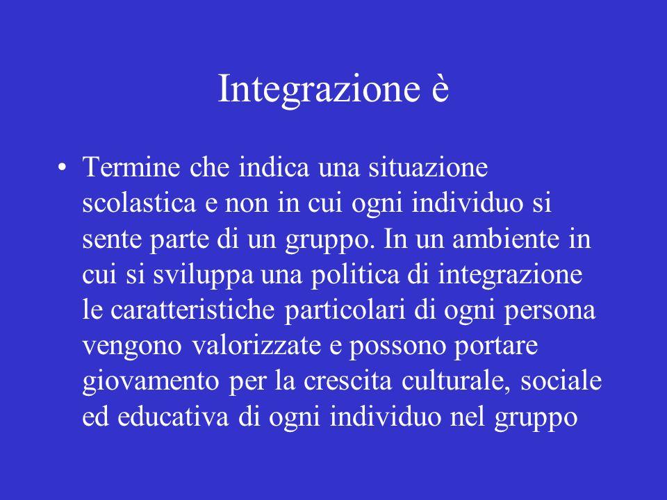 Integrazione è Termine che indica una situazione scolastica e non in cui ogni individuo si sente parte di un gruppo. In un ambiente in cui si sviluppa