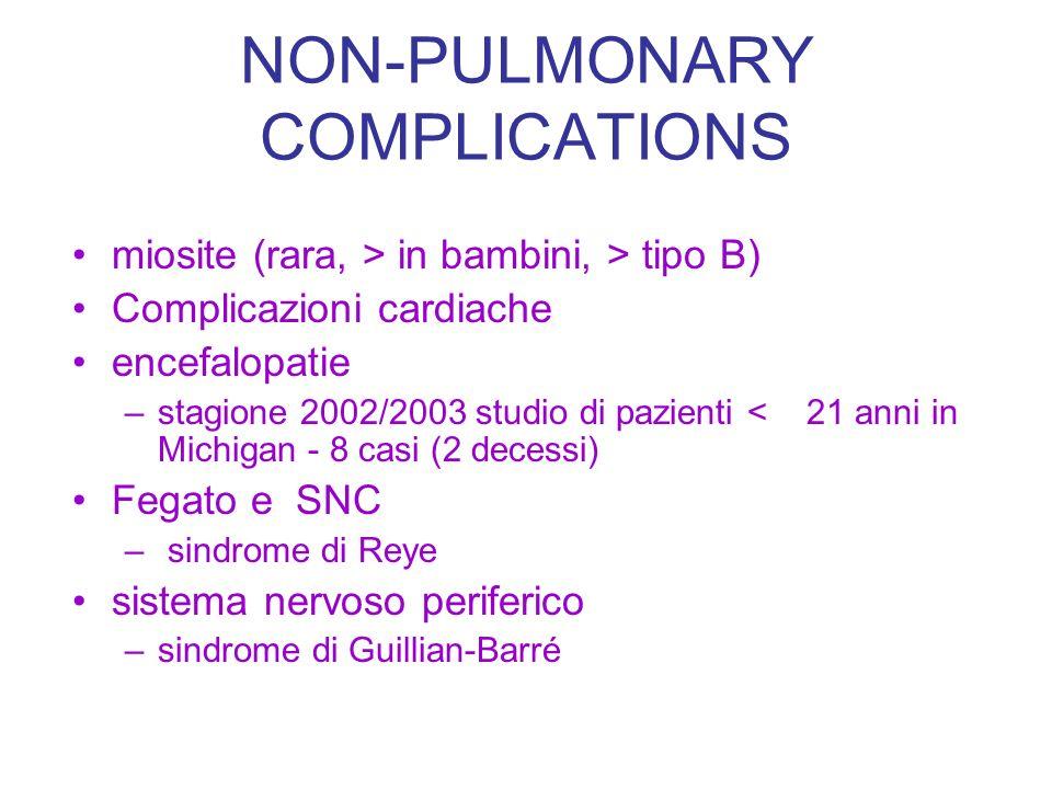 NON-PULMONARY COMPLICATIONS miosite (rara, > in bambini, > tipo B) Complicazioni cardiache encefalopatie –stagione 2002/2003 studio di pazienti < 21 a