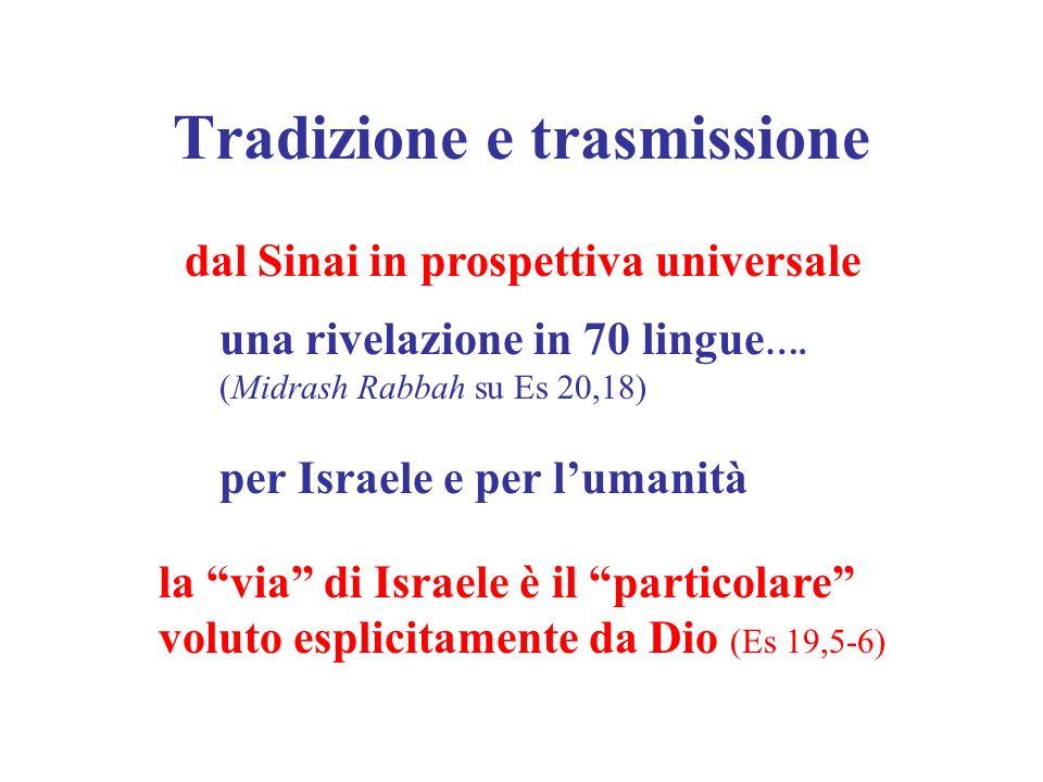 Tradizione e trasmissione dal Sinai in prospettiva universale una rivelazione in 70 lingue …. (Midrash Rabbah su Es 20,18) per Israele e per lumanità