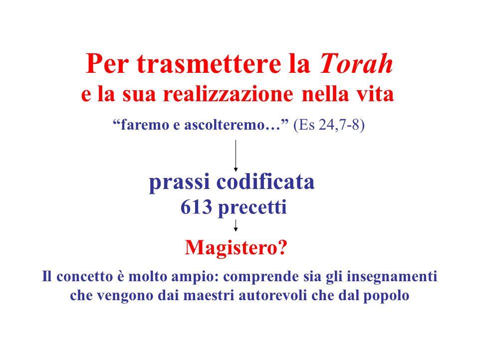Per trasmettere la Torah e la sua realizzazione nella vita faremo e ascolteremo… (Es 24,7-8) prassi codificata 613 precetti Magistero? Il concetto è m