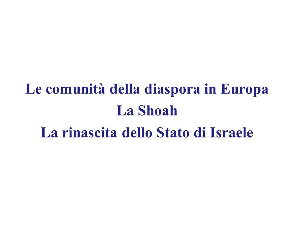 Le comunità della diaspora in Europa La Shoah La rinascita dello Stato di Israele
