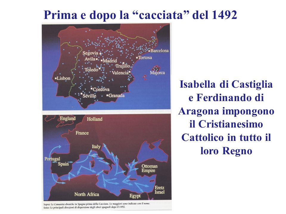 Prima e dopo la cacciata del 1492 Isabella di Castiglia e Ferdinando di Aragona impongono il Cristianesimo Cattolico in tutto il loro Regno