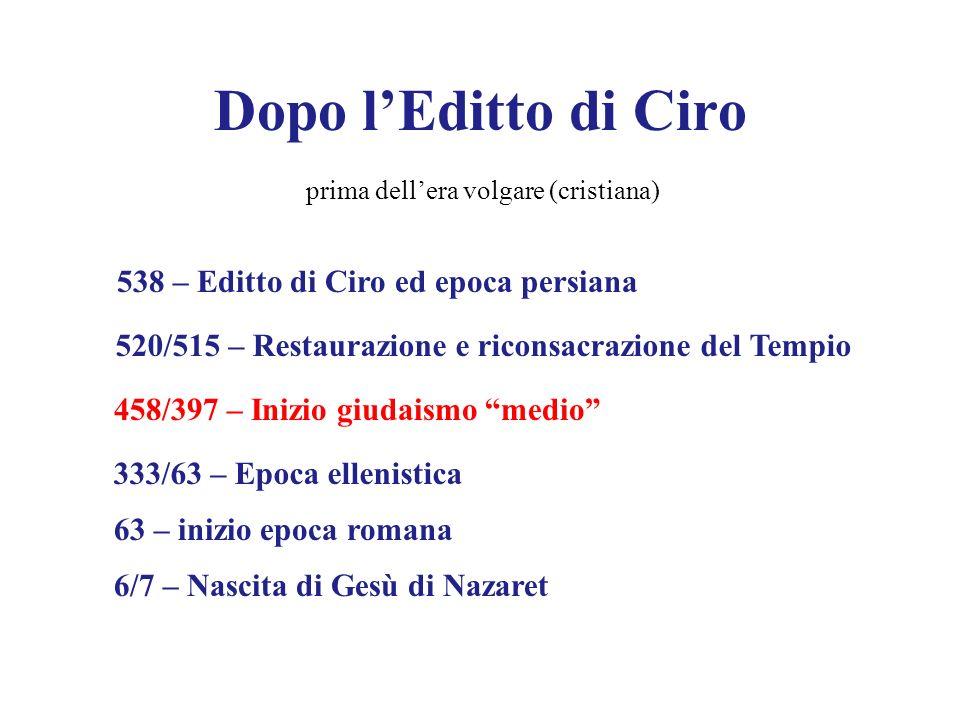 Dopo lEditto di Ciro 538 – Editto di Ciro ed epoca persiana 520/515 – Restaurazione e riconsacrazione del Tempio 458/397 – Inizio giudaismo medio 333/
