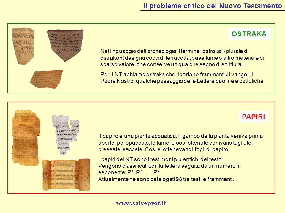 Il problema critico del Nuovo Testamento OSTRAKA Nel linguaggio dellarcheologia il termine òstraka (plurale di òstrakon) designa cocci di terracotta,