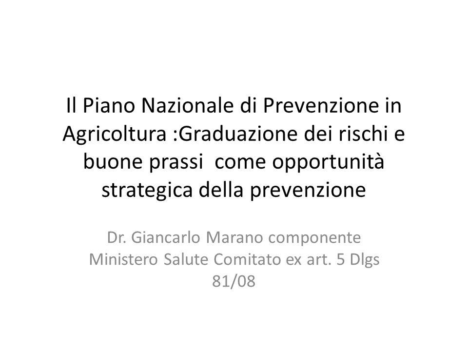 Il Piano Nazionale di Prevenzione in Agricoltura :Graduazione dei rischi e buone prassi come opportunità strategica della prevenzione Dr. Giancarlo Ma