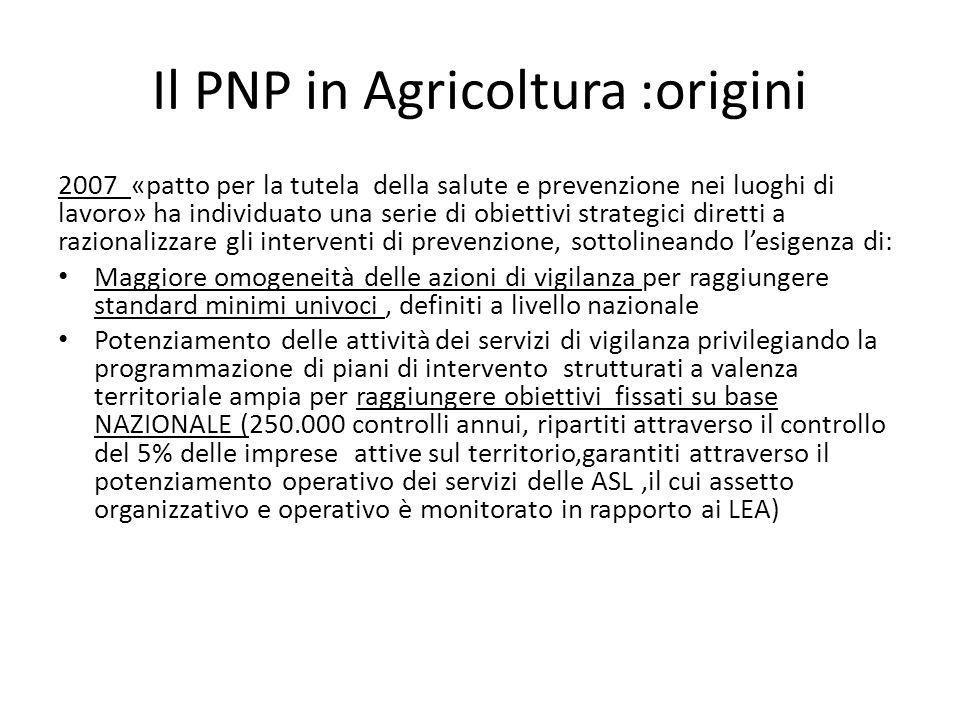 Il PNP in Agricoltura :origini 2007 «patto per la tutela della salute e prevenzione nei luoghi di lavoro» ha individuato una serie di obiettivi strate