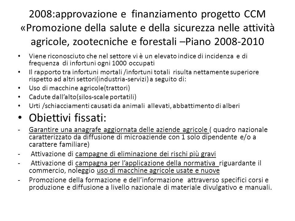 2008:approvazione e finanziamento progetto CCM «Promozione della salute e della sicurezza nelle attività agricole, zootecniche e forestali –Piano 2008