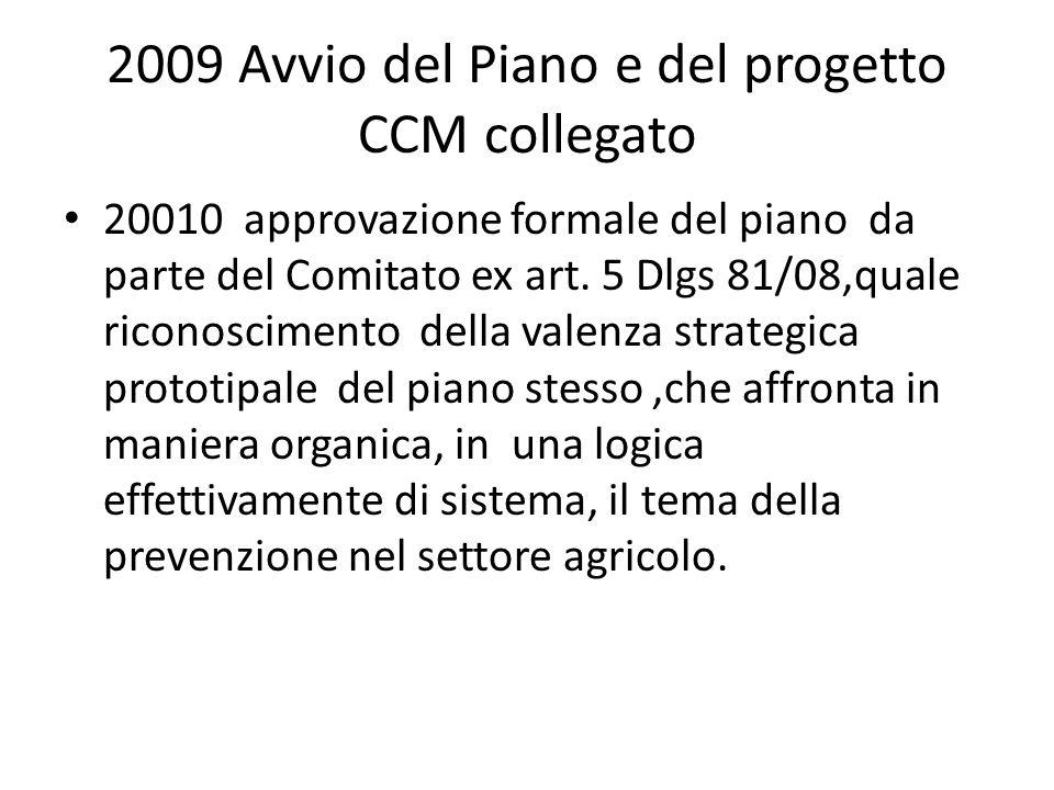 2009 Avvio del Piano e del progetto CCM collegato 20010 approvazione formale del piano da parte del Comitato ex art. 5 Dlgs 81/08,quale riconoscimento