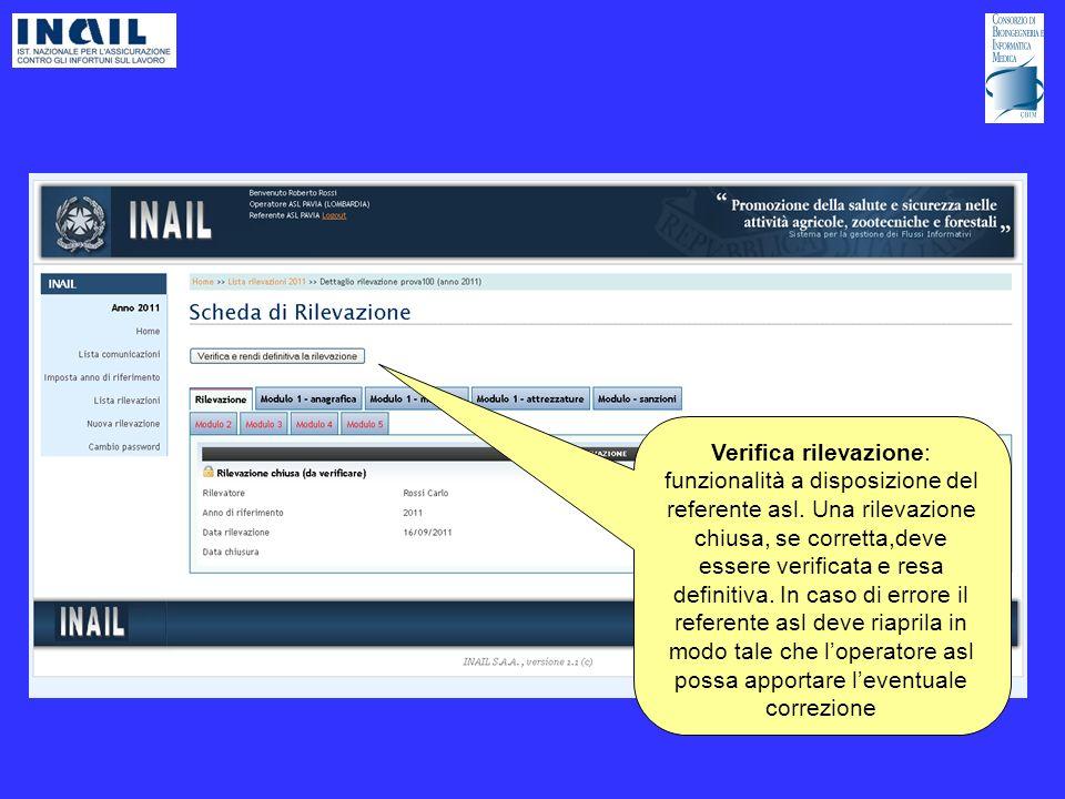 Verifica rilevazione: funzionalità a disposizione del referente asl.