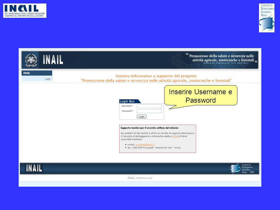 Inserire Username e Password