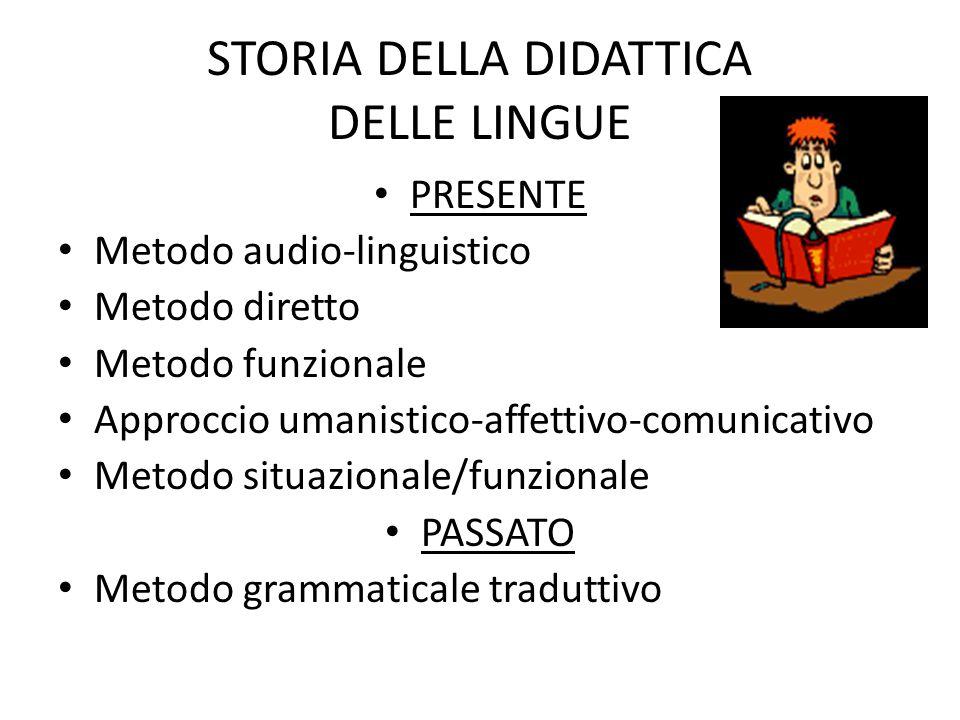 STORIA DELLA DIDATTICA DELLE LINGUE PRESENTE Metodo audio-linguistico Metodo diretto Metodo funzionale Approccio umanistico-affettivo-comunicativo Met