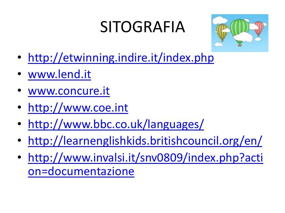 SITOGRAFIA http://etwinning.indire.it/index.php www.lend.it www.concure.it http://www.coe.int http://www.bbc.co.uk/languages/ http://learnenglishkids.britishcouncil.org/en/ http://www.invalsi.it/snv0809/index.php?acti on=documentazione http://www.invalsi.it/snv0809/index.php?acti on=documentazione