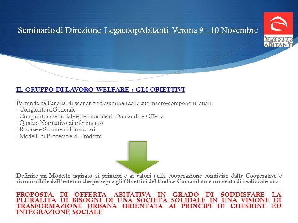 Seminario di Direzione LegacoopAbitanti- Verona 9 - 10 Novembre IL GRUPPO DI LAVORO WELFARE : GLI OBIETTIVI Partendo dallanalisi di scenario ed esamin