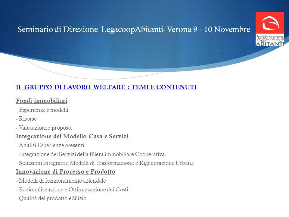 Seminario di Direzione LegacoopAbitanti- Verona 9 - 10 Novembre IL GRUPPO DI LAVORO WELFARE : TEMI E CONTENUTI Fondi immobiliari - Esperienze e modell