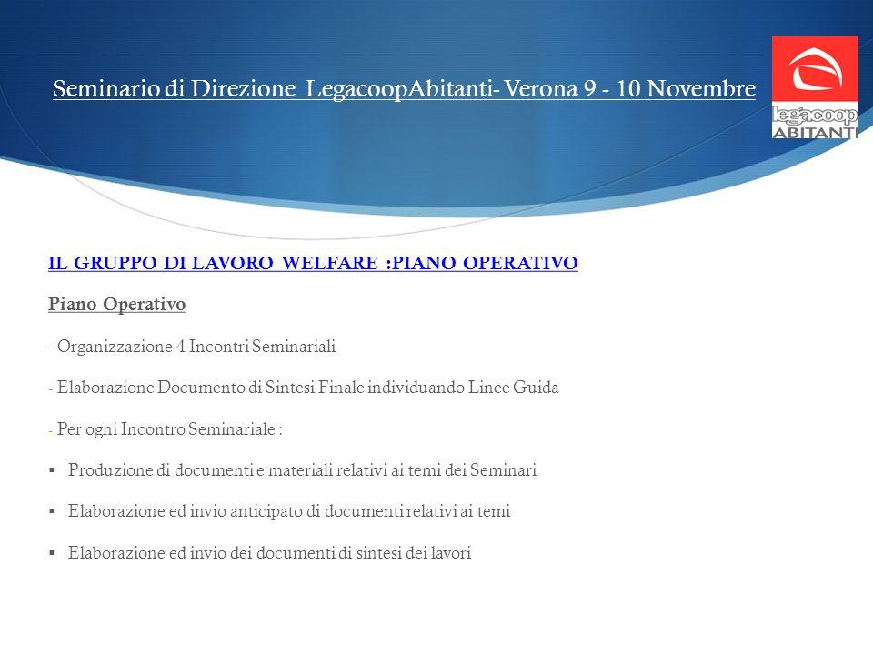 Seminario di Direzione LegacoopAbitanti- Verona 9 - 10 Novembre IL GRUPPO DI LAVORO WELFARE :PIANO OPERATIVO Piano Operativo - Organizzazione 4 Incont