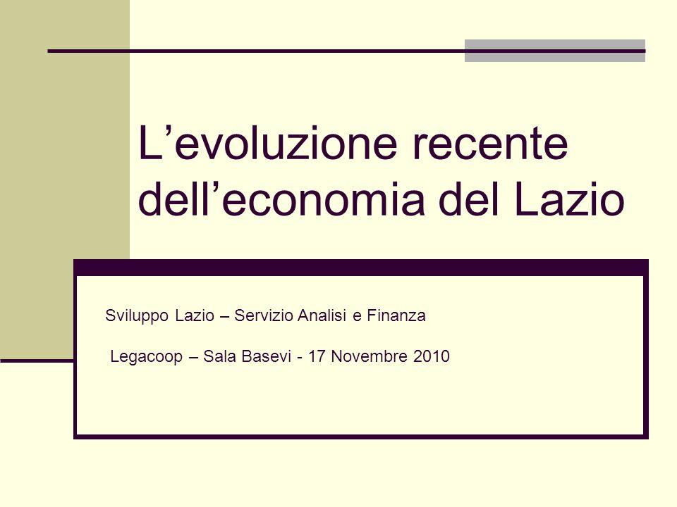 Levoluzione recente delleconomia del Lazio Sviluppo Lazio – Servizio Analisi e Finanza Legacoop – Sala Basevi - 17 Novembre 2010
