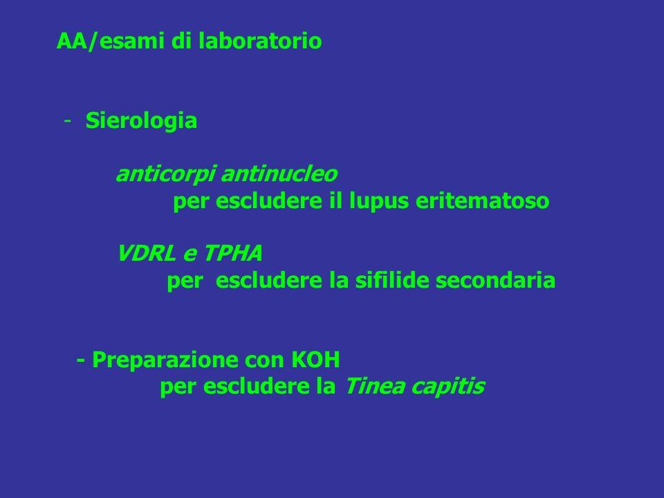 AA/esami di laboratorio - Sierologia anticorpi antinucleo per escludere il lupus eritematoso VDRL e TPHA per escludere la sifilide secondaria - Prepar