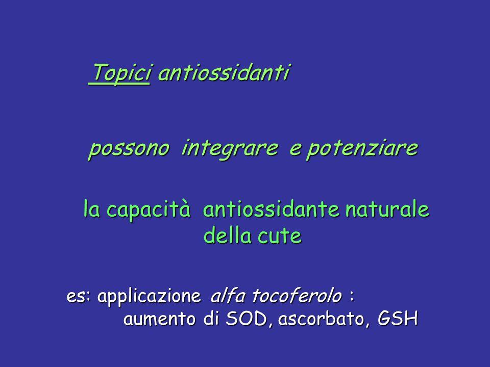 la capacità antiossidante naturale della cute la capacità antiossidante naturale della cute es: applicazione alfa tocoferolo : aumento di SOD, ascorba