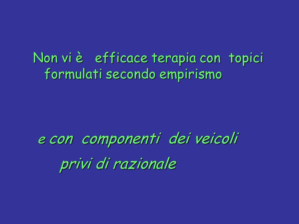 Non vi è efficace terapia con topici formulati secondo empirismo e con componenti dei veicoli privi di razionale privi di razionale