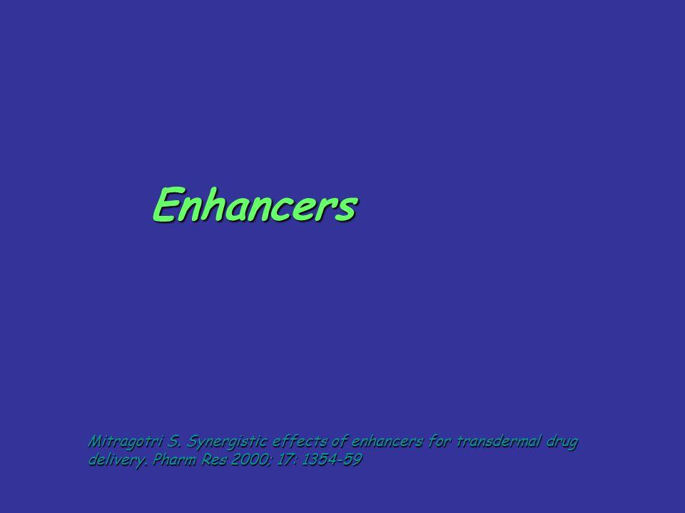 Enhancers Mitragotri S. Synergistic effects of enhancers for transdermal drug delivery. Pharm Res 2000; 17: 1354-59