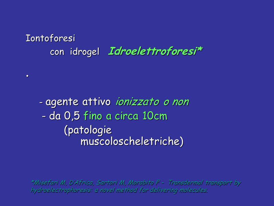 Iontoforesi con idrogel Idroelettroforesi* con idrogel Idroelettroforesi* - agente attivo ionizzato o non - agente attivo ionizzato o non - da 0,5 fin