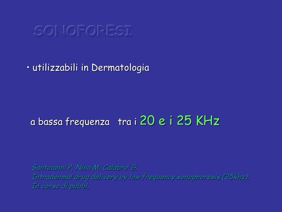 utilizzabili in Dermatologia utilizzabili in Dermatologia a bassa frequenza tra i 20 e i 25 KHz a bassa frequenza tra i 20 e i 25 KHz Santoianni P, Ni