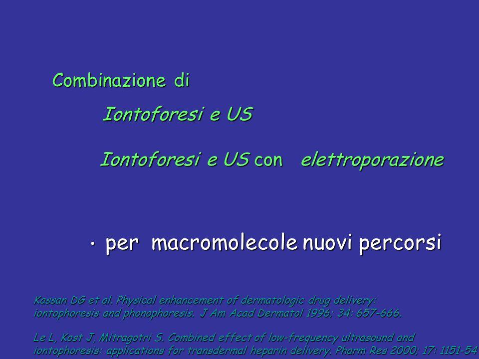 Iontoforesi e US con elettroporazione Iontoforesi e US con elettroporazione per macromolecole nuovi percorsi per macromolecole nuovi percorsi Kassan D