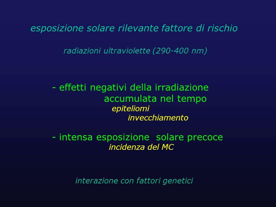 - effetti negativi della irradiazione accumulata nel tempo epiteliomi invecchiamento - intensa esposizione solare precoce incidenza del MC interazione