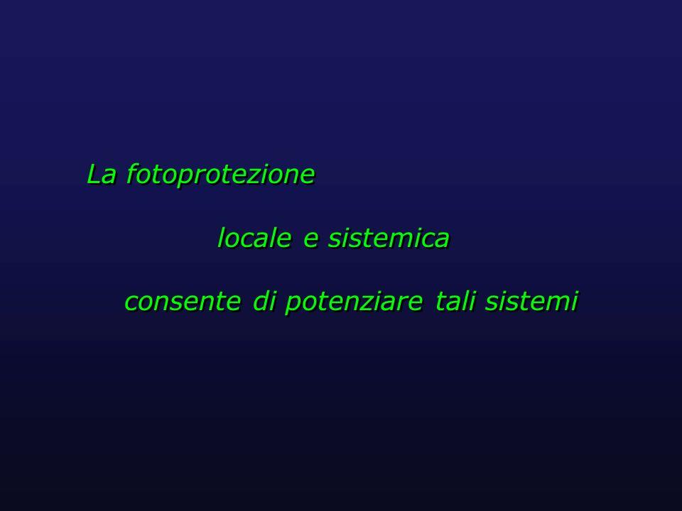 La fotoprotezione locale e sistemica consente di potenziare tali sistemi La fotoprotezione locale e sistemica consente di potenziare tali sistemi