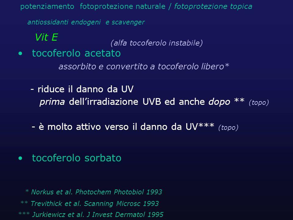 tocoferolo acetato assorbito e convertito a tocoferolo libero* - riduce il danno da UV prima dellirradiazione UVB ed anche dopo ** (topo) - è molto at