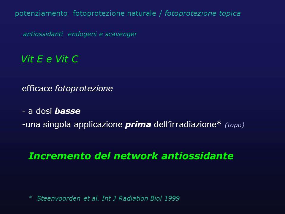 Vit E e Vit C efficace fotoprotezione - a dosi basse -una singola applicazione prima dellirradiazione* (topo) Incremento del network antiossidante * S